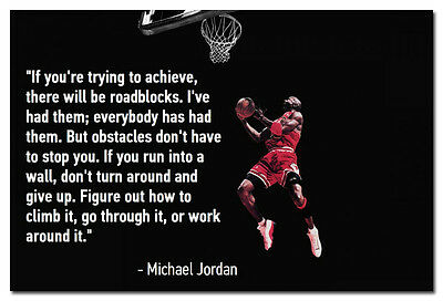 Michael Jordan Basketball Motivational Quotes Art Silk Poster 13x20 24x36""