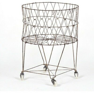 Vintage Style Reproduction Collapsible Rolling Laundry Basket
