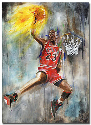 Michael Jordan Slam Dunk Art Silk Fabric Poster Print 13x18 inches