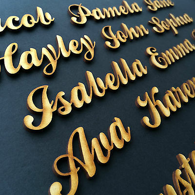 Script Names Letters Words Personalised Christmas Wedding Book Art Wooden MDF