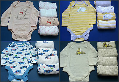 Tesco F&F 5 Pack Long Sleeve Bodysuits Vests Babygrows Size 0-3 Months (New)