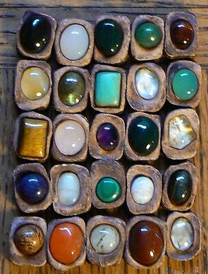Real Gemstones Rune set of 25 runic alphabet: gems resin clay & guide chart