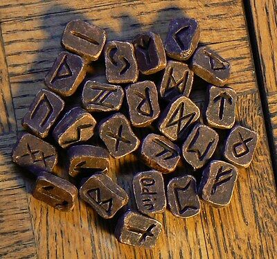 Rune set of 25 ~ complete runic alphabet made of resin clay & guide chart
