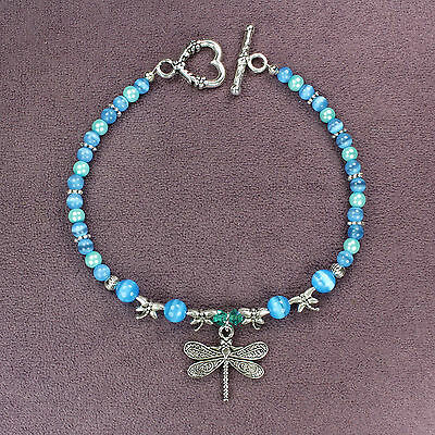 DRAGONFLY TOTEM BRACELET Blue Aqua Silver Heart Crystals Catseye Beads Insect