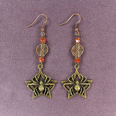 "SPIDER STAR EARRINGS Spiral Web Long 3"" Dangle Bronze Copper Orange Crystals"