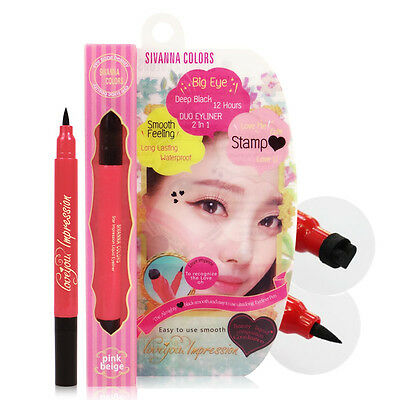 [SIVANNA COLORS] HF641 BLACK Eyeliner Duo Heart Tattoo Stamp Love You Impression