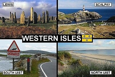 SOUVENIR FRIDGE MAGNET of THE WESTERN ISLES SCOTLAND & OUTER HEBRIDES