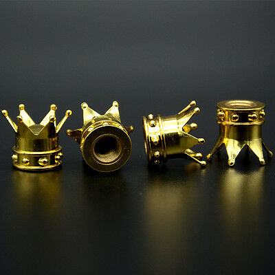 4 Pcs Car Golden Crown Tyre Tire Wheel Valve Stems Air Dust Covers Caps For VW