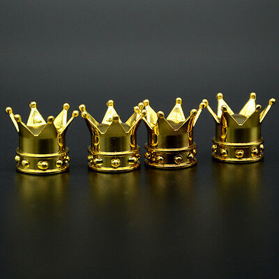 4x Kings Crown Tyre Tire Wheel Valve Stems Air Dust Covers Caps Golden Car Auto