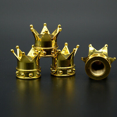 4x Golden Crown Tyre Tire Wheel Valve Stems Air Dust Covers Cap Set For Vauxhall