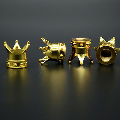 4x Car Golden King Hat Crown Tire Wheel Stem Air Valve Caps Cover Set For Ford