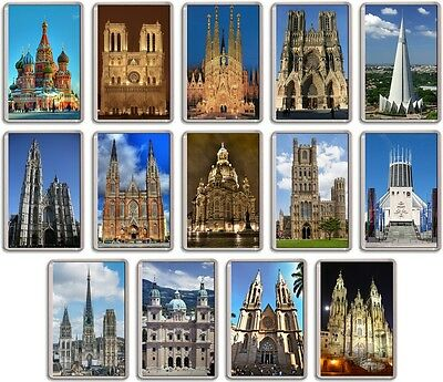 FRIDGE MAGNET - WORLD CATHEDRALS -- (Various Designs) - Large Christian