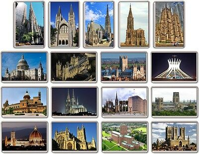 FRIDGE MAGNET - WORLD CATHEDRALS - (Various Designs) -- Large Church