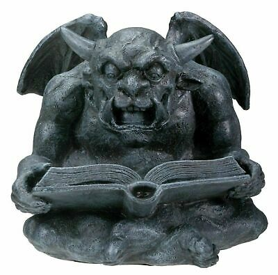 Gothic Fantasy Book Reading Gargoyle Guardian Figurine Sculpture Bibliography