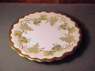 "Antique Hand-Painted Limoges Blakeman & Henderson 8 1/2"" Plate - Gold & Grapes"