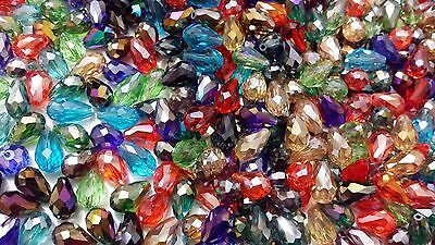 30 Teardrop Briolette Faceted Cut Glass Crystal Beads 11x7mm  (BUY 3 1 FREE)