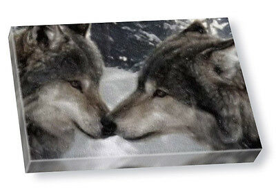 WOLVES IN WINTER - Large A3 Original Art Canvas Print  #01