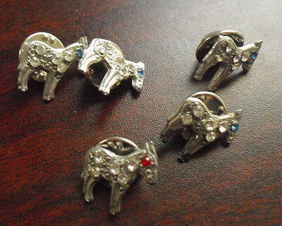"Lot of 5 Vintage 1970s Fancy Metal Stone Trim Small Horse Pinbacks 5/8"" Tall"