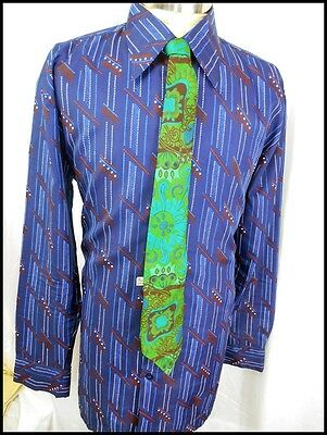 "Vintage 70s Blue Patterned Polyester ""Touch Of Silk"" Disco Party Shirt XL"