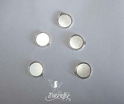 5 silver Tone double sided Cabochon setting frames round pendants 20 mm pictures