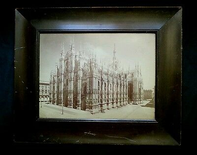 Antique B&W photograph of Milan Cathedral, late 1800's 11×14.5 inches