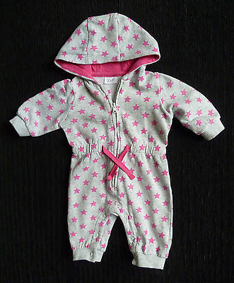 Baby clothes GIRL 0-3m F&F fleecy inside all-in-one pramsuit hoodgrey/pink stars