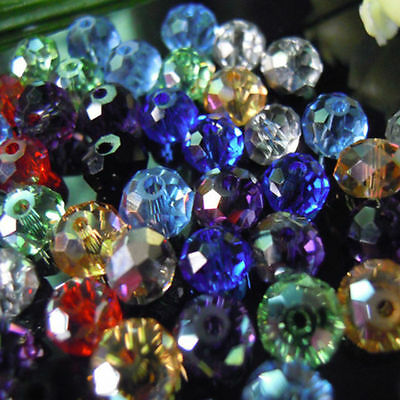 100-2000 Faceted MIXED Rondelle Crystal Glass Beads 4x6mm 6x8mm 6x8mm