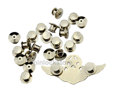 50 LOW PROFILE Locking Pin Backs/Pin Keepers For all Pin Post Pins No Tool Req'd