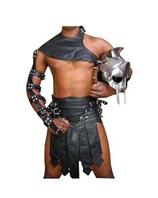Real black Leather Mens Roman Gladiator HALLOWEEN Kilt Set GAY Clubwear LARP