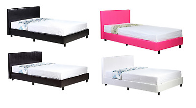 3FT Single Faux Leather Black Brown Hot Pink Grey White Bed Frame Only Modern