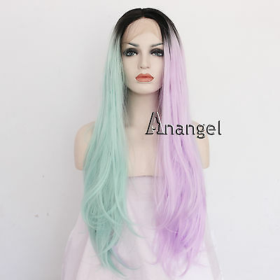 Ombre green Pink Lace Front Wigs Long Wavy Heat Resistant Synthetic Full Wig