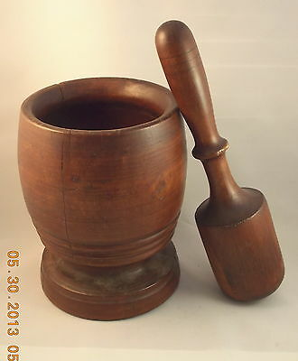 Large 19Th Century Carved Hardwood Pestle & Mortar