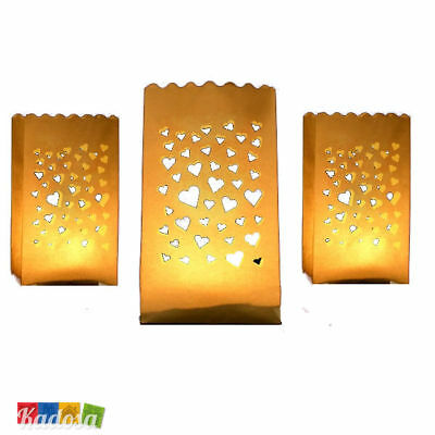 10 Lanterne Luminose CUORI Porta Tea Light - Matrimonio CUORE Sacchetto Carta