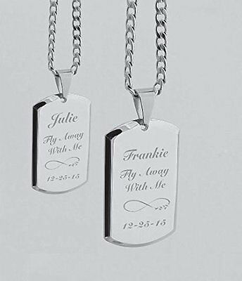 Personalized Stainless Steel His & Hers Dog Tag Necklace Set Engraved Free