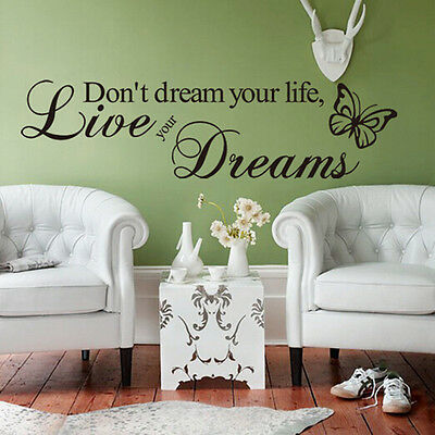 Removable Art Vinyl Quote Word DIY Wall Sticker Decal Mural Home Room Decor