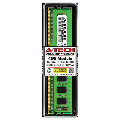 Atech 4GB DIMM DDR3 Desktop PC3-12800 12800 1600MHz 1600 240-pin Ram Memory