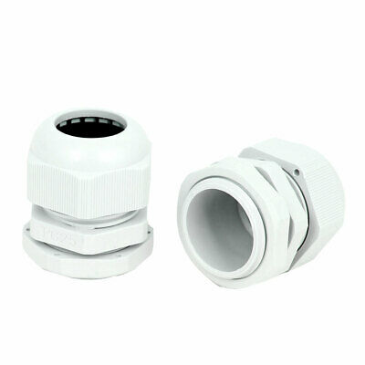 2 Pcs PG25 30mm Thread Dia Cable Glands Fixing Connector Adapter Fastener White