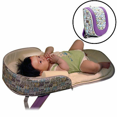 Nuvo Portable Nest Bed Backpack with Diaper Bag Function For Infant Baby -Purple