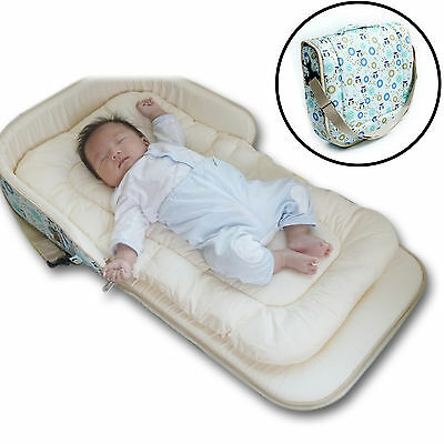Nuvo Portable Nest Bed Shoulder Bag with Diaper Bag Function For Baby /Owl-blue