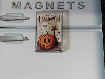 Happy Halloween Fridge Magnet. NEW. Cute Pumpkin, Black Cat and Ghost