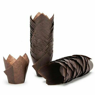 Bakery direct 200 Chocolate brown Muffin Tulip Wraps Cupcake Cases Wrappers