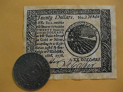 U.S. Colonial Coin and Banknote set  Historical document set Continental Dollar