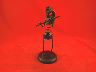 1F Retro Funky Metal Springs & Bolts FLUTE PLAYER figurine Made Hong Kong