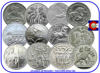 12 Labors of Hercules -- Nemean Lion to Cerberus, full silver set, in airtites