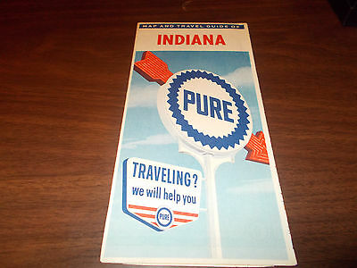 1963 Pure Oil Indiana Vintage Road Map
