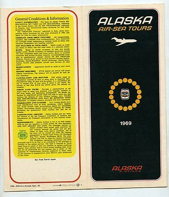 1960s Travel Brochure  Alaska Airlines Air Sea Tours 1969 Vacation