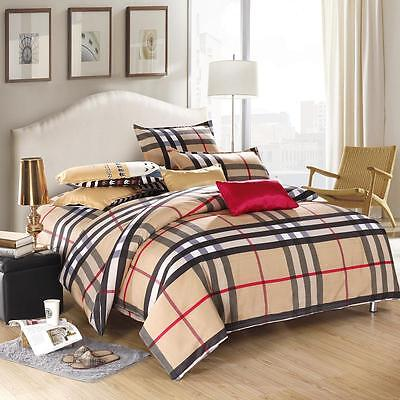 British Style Single Double Queen King Size Bed Set Pillowcase Quilt Duvet Cover