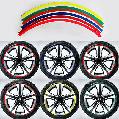 "16pcs MOTORCYCLE Tire Rim Stripe 15"" Wheel Decal RED Tape Stickers Decal"