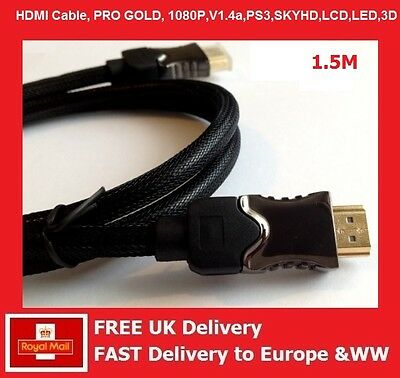1,5 m HDMI KABEL 1080P 3D v1.4 PREMIUM HD HIGH SPEED ETHERNET GOLD