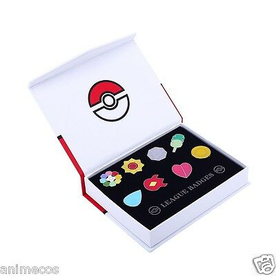 Pokemon Gym Badges Kanto Region League Pins Brooches 8pcs New in Box Collection